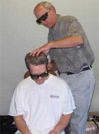 Freddie Roach during Laser Treatment at the Wild Card Boxing Club